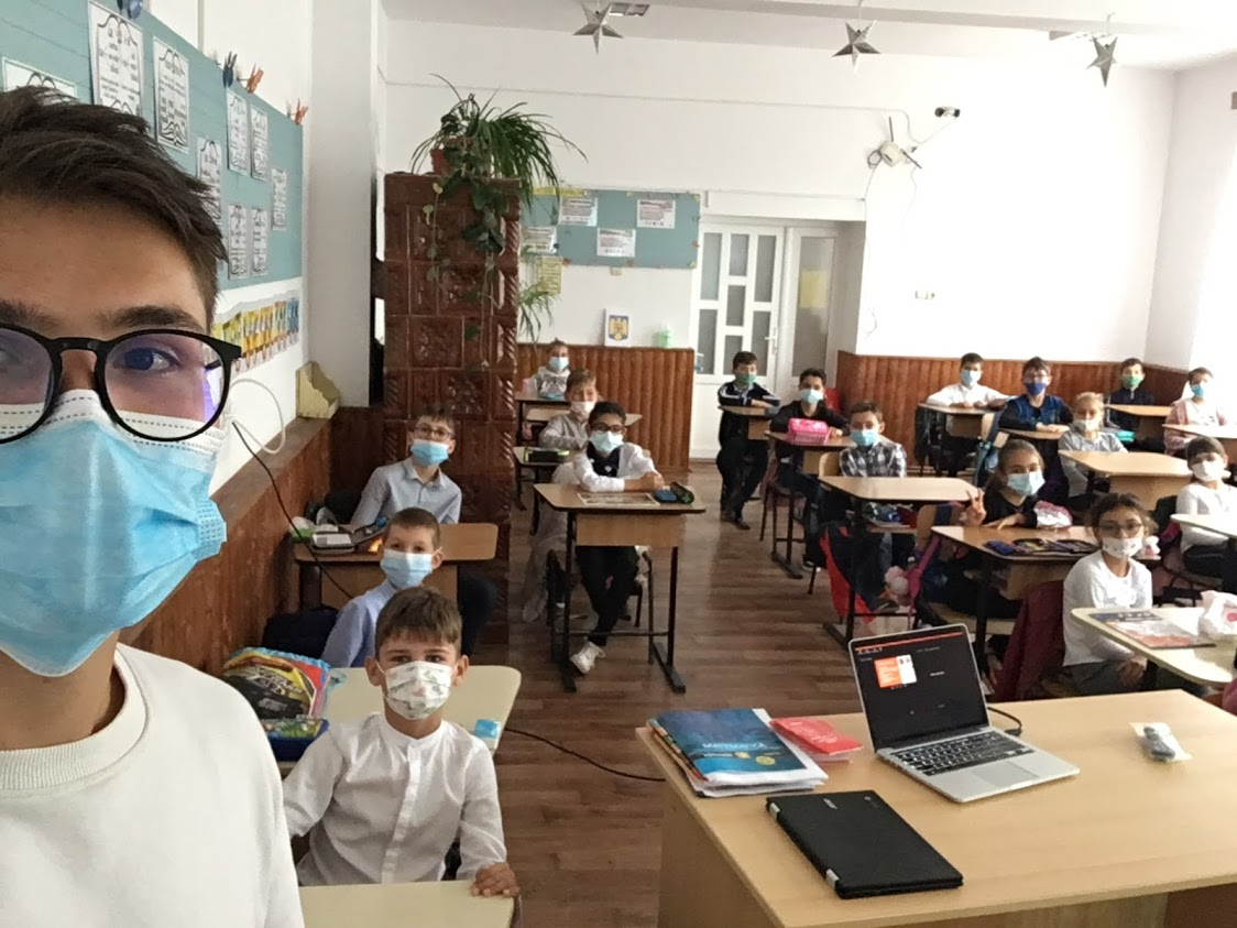 Fabian când a făcut training cu elevii